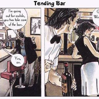 Tending bar by Horacio Altuna